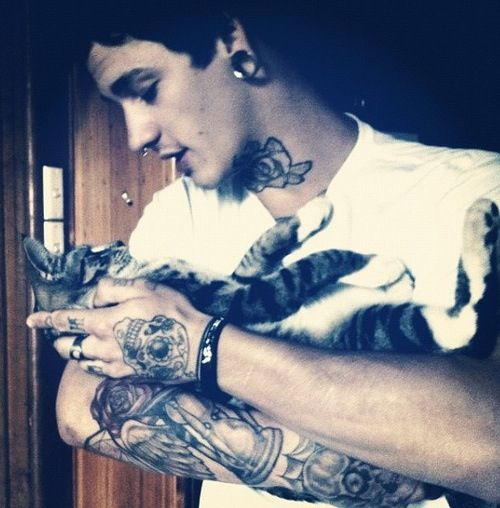 Cute Guy With Kitten Tattoos For Guys