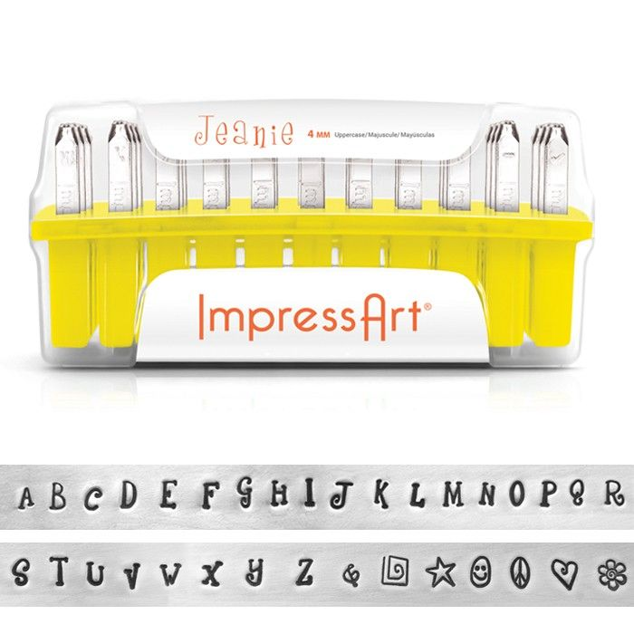 ImpressArt Jeanie Uppercase Letter Stamp Set, Metal Jewelry Stamps