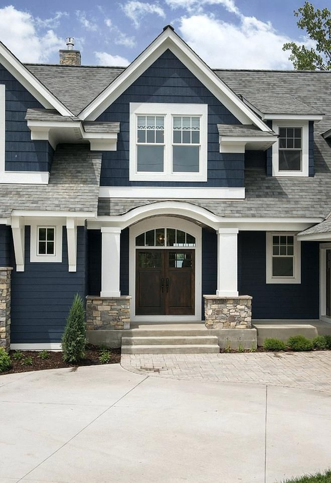 Gray House White Trim Brown Roof And Now For The Exact Colour Of Blue That We Are Seriously Con Lake Houses Exterior House Paint Exterior Exterior House Colors