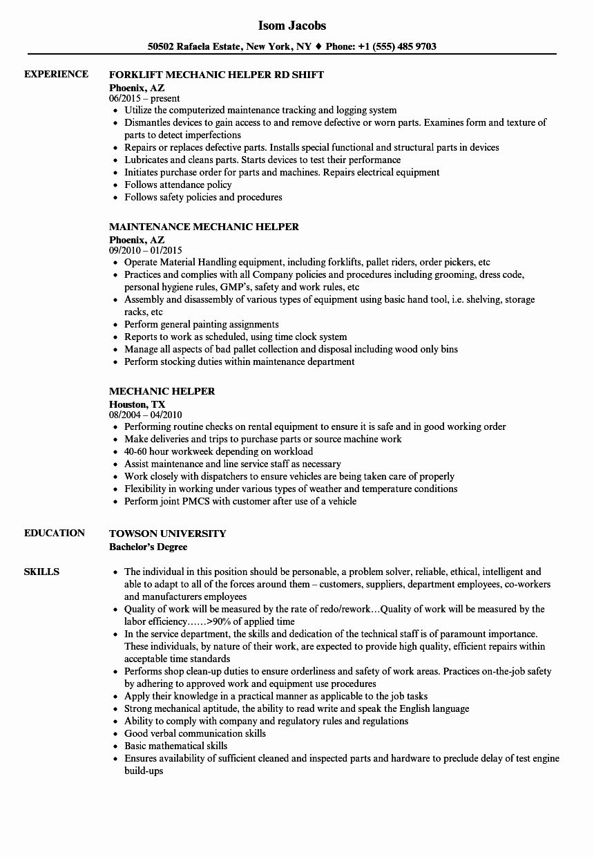 20 mechanic job description resume