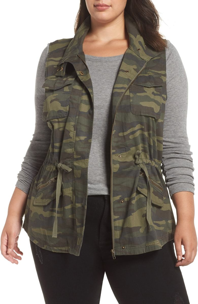 e90e9d5d0a0 Free shipping and returns on Caslon® Utility Vest (Plus Size) at  Nordstrom.com. A stand collar