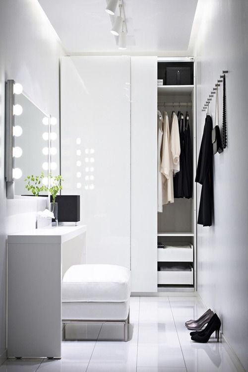 Design Idea For A Walk In Closet With A Mirror, White, Simple