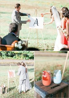 Fantastic wedding ceremony idea! Unity painting!
