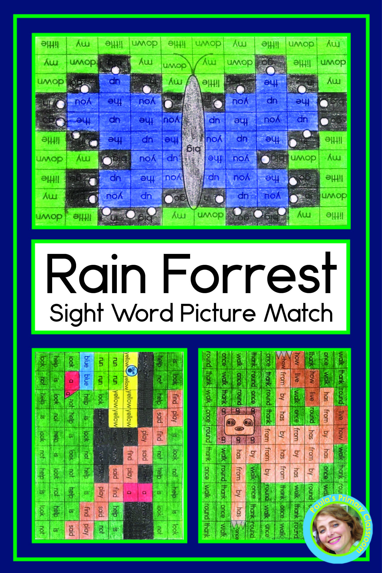 Sight Word Worksheets Rainforest Mystery Pictures Pre