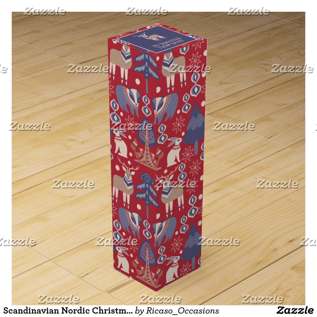 Scandinavian Nordic Christmas Personalized Wine Box Zazzle Com Personalized Wine Box Custom Wine Box Personalized Wine