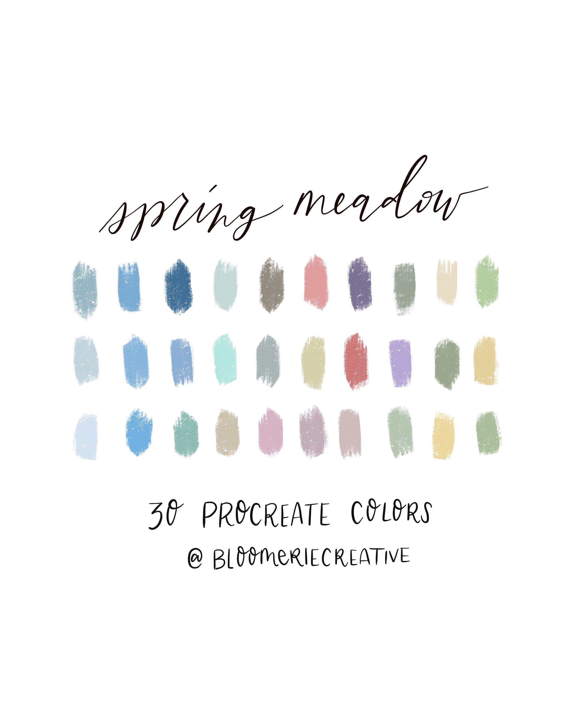 Spring Meadow Pastel Colors Procreate Color Palette Procreate Swatches In 2020 Spring Color Palette Color Palette Pastel Colour Palette