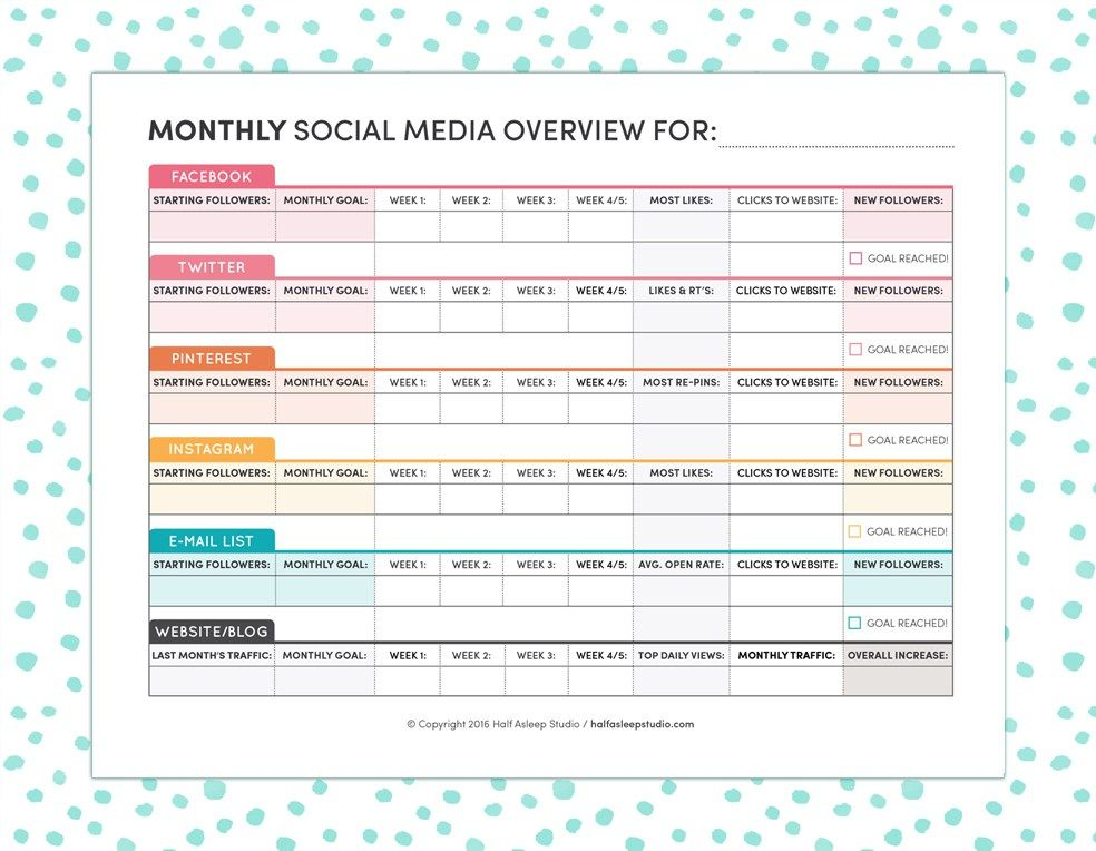 Monthly Social Media Overview-BG Social media Pinterest - editorial calendar template