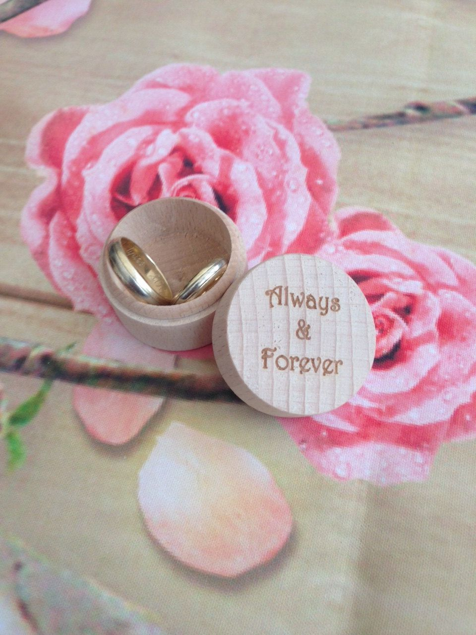 Natural Wood Personalised Engagement Ring Wedding Rings Box ...
