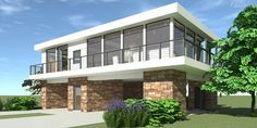 Elevated Modern Home. 2 Bedrooms. Tyree House Plans.