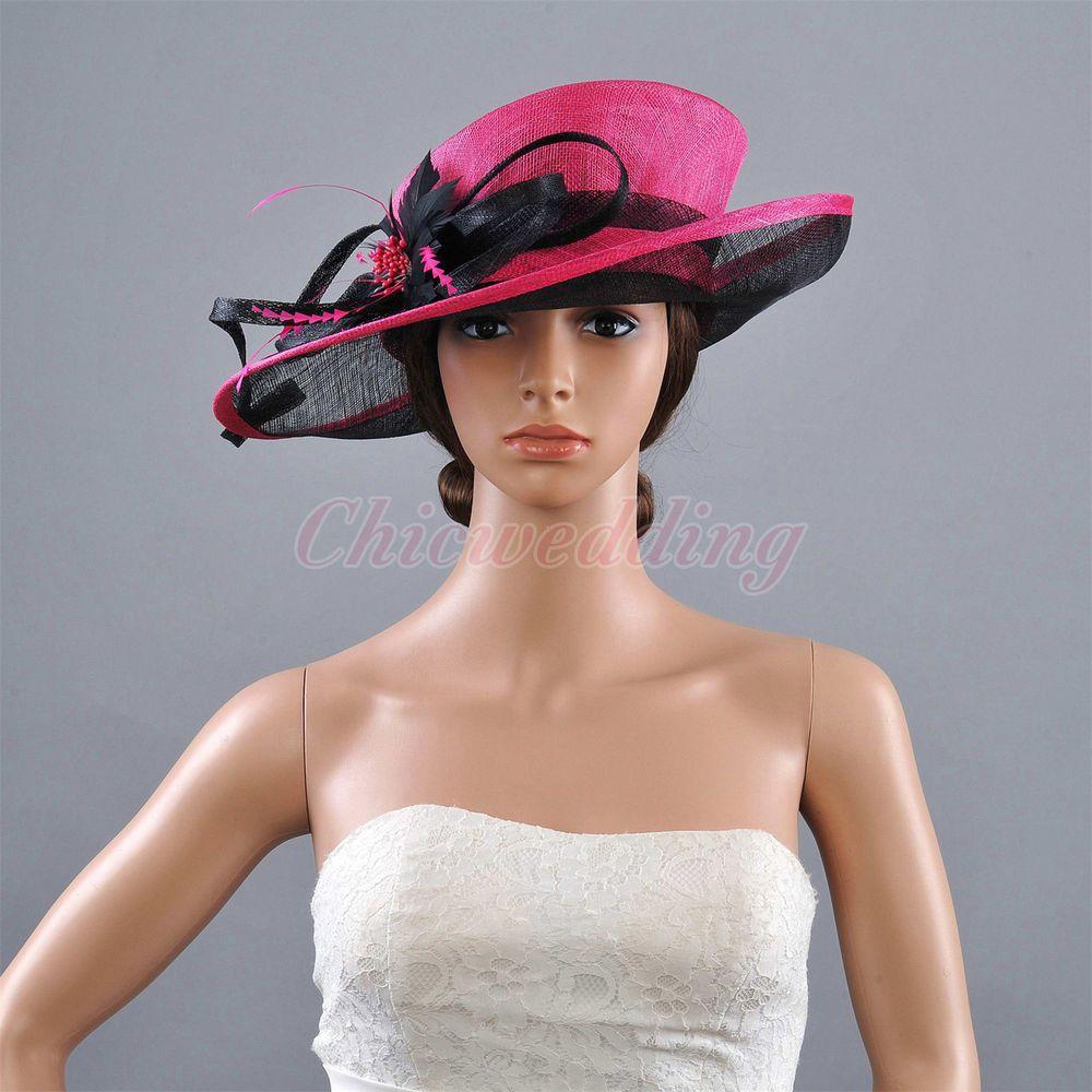 798769044c8 Newest Feather Formal Kentucky Derby Hat Bridal Church Hat Fuchsia Black Hat  HOT