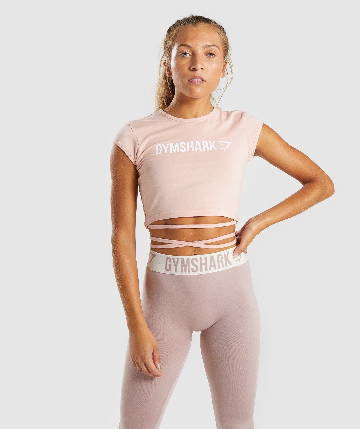 8546355cba908 Gymshark Ribbon Capped Sleeve Crop Top - Blush Nude 4