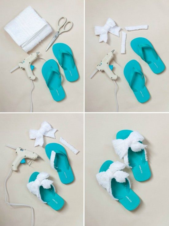 Spa flip flops- think Im gonna try to add the towel to the bottom and around the toe piece, bet it would be so comfy!