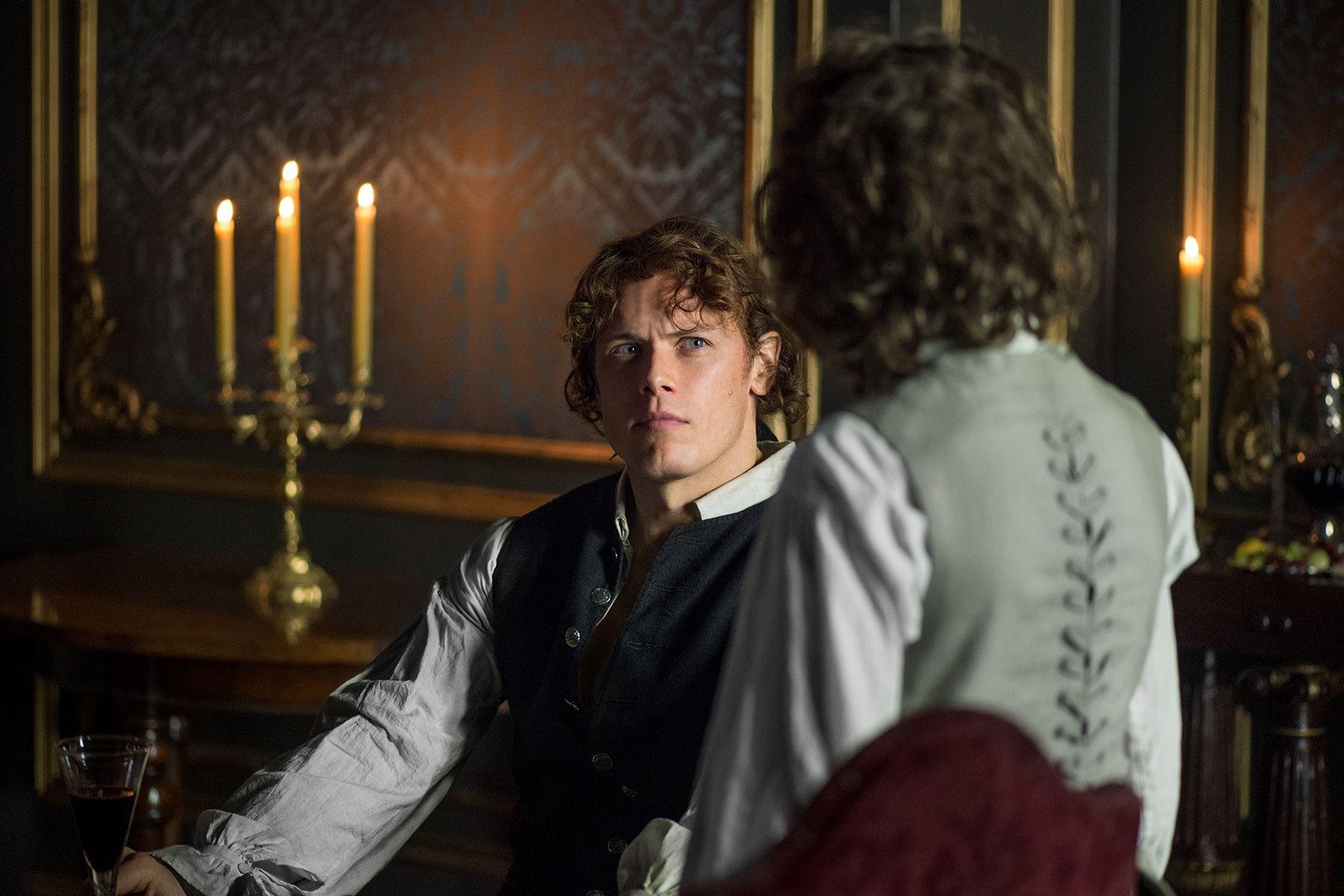 "Jamie Fraser (Sam Heughan) and Fergus in Episode 206 ""Best Laid Schemes"" of Outlander Season Two on Starz"