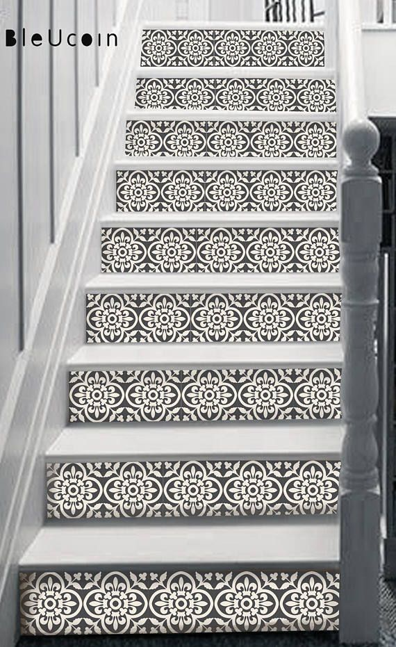 Encaustic Moroccan Tile Wall Stair Floor Self Adhesive Vinyl