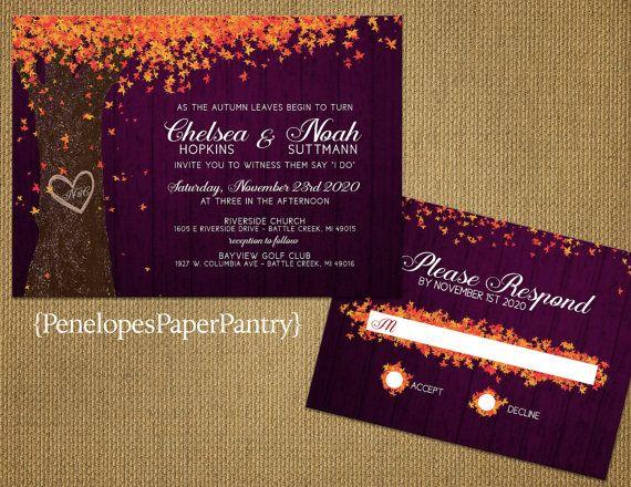 Rustic Plum Fall Wedding Invitation Purple Orange Oak Tree Carved