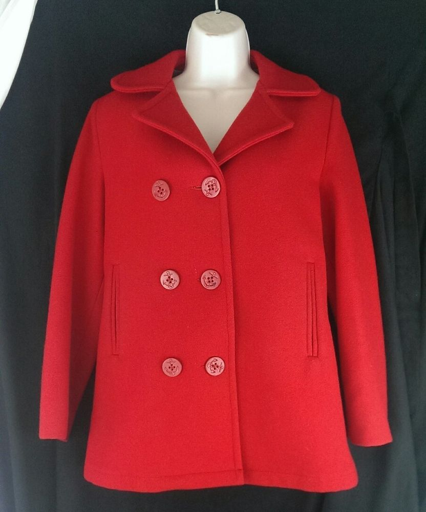 Vintage Woolrich 100% Wool Double Breasted Peacoat Women's Size 6 Red #Woolrich #Peacoat #Any