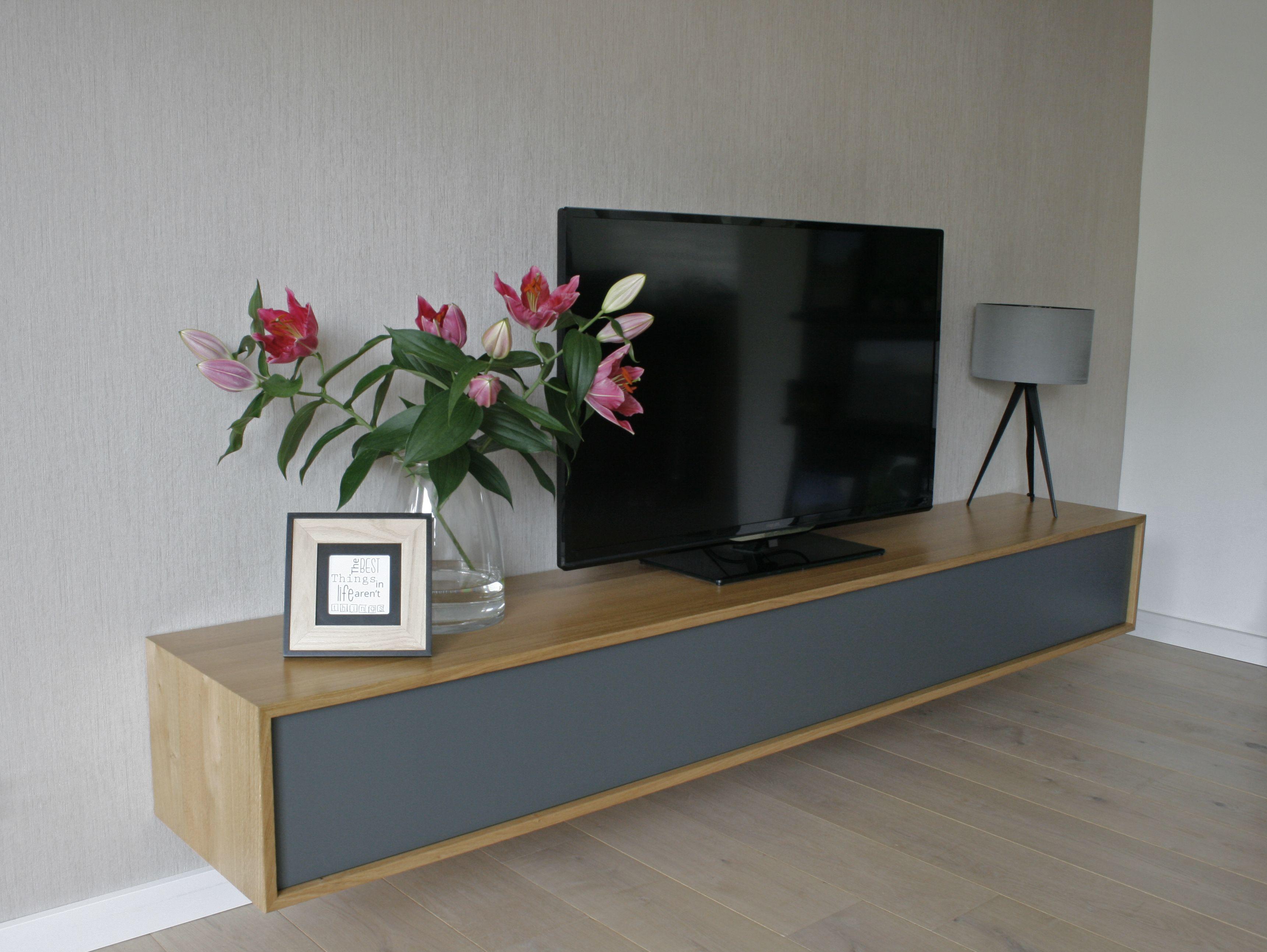 Tv meubel modern antraciet hout behang rasch tripod