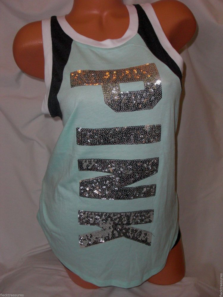 New Victoria's Secret Love PINK Campus Muscle Tank Top Lt Mint Sequin Bling #PINKbyVictoriasSecret #MuscleTank #Casual