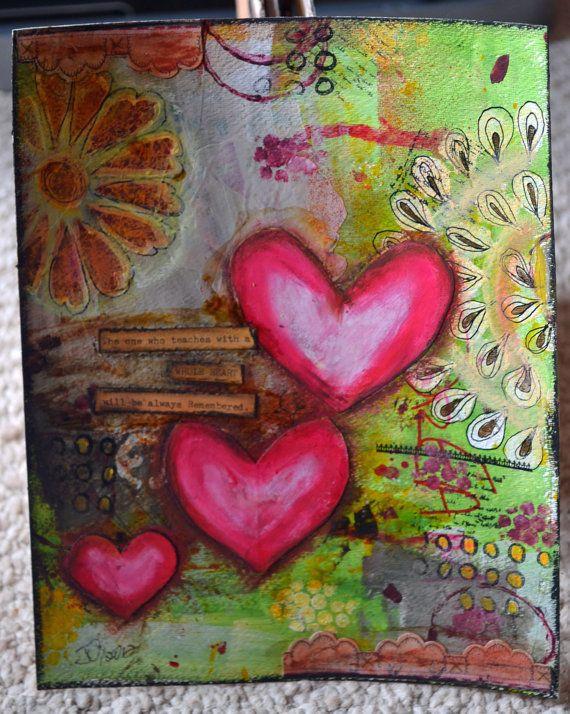 Mixed Media Remember Painting. $18.00, via Etsy.
