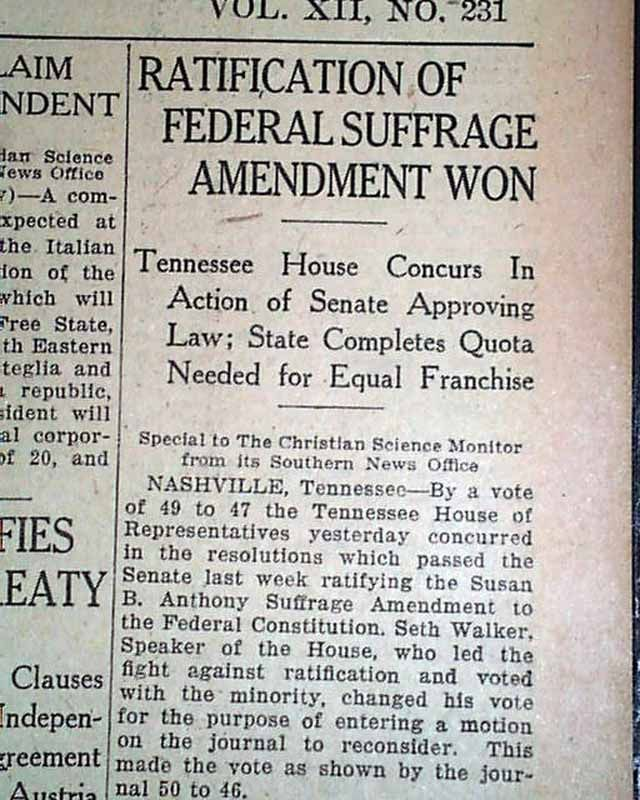 Nineteenth Amendment To Vote Ratification Of The 19th