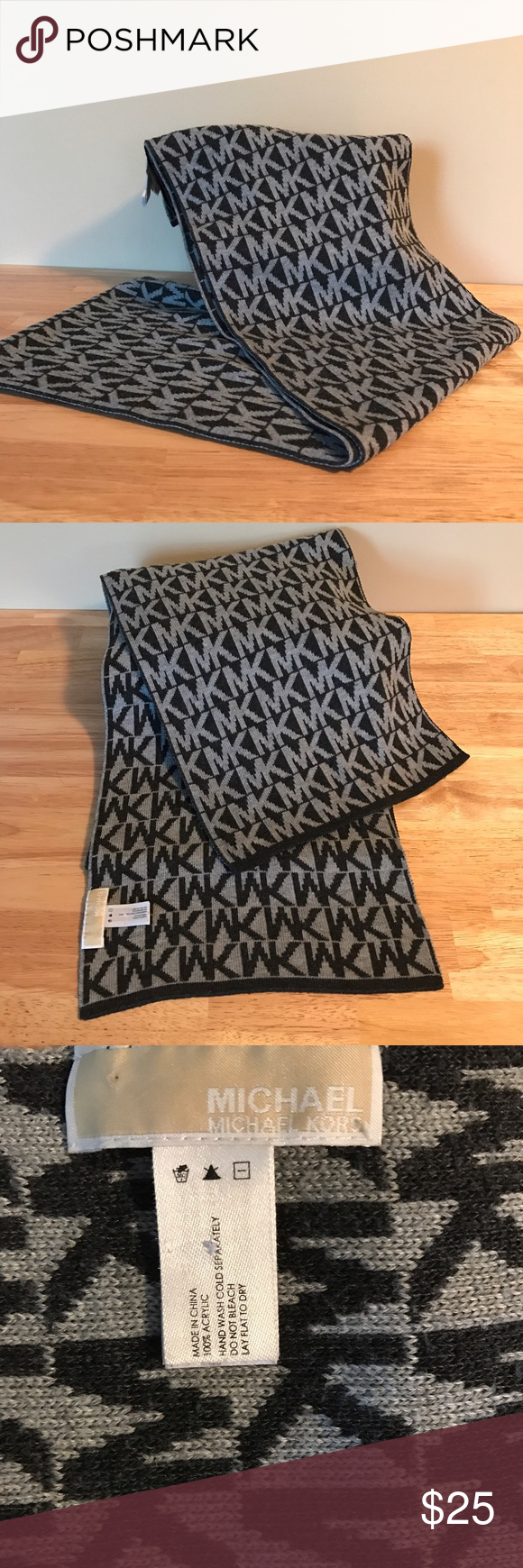 Michael Kors Scarf Michael Kors Scarf Charcoal Gray & Light Gray MK logo. Pre-loved but in great condition! Reasonable offers accepted with the offer button- NO TRADES. Michael Kors Accessories Scarves & Wraps