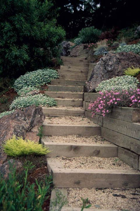 40 Cool Garden Stair Ideas For Inspiration | Garden stairs ... on Backyard Hill Landscaping Ideas id=57286