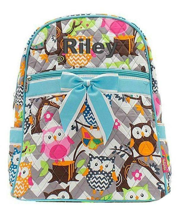 Owl Print Grey Chevron Pink Trim Backpack W Matching Lunch Bag