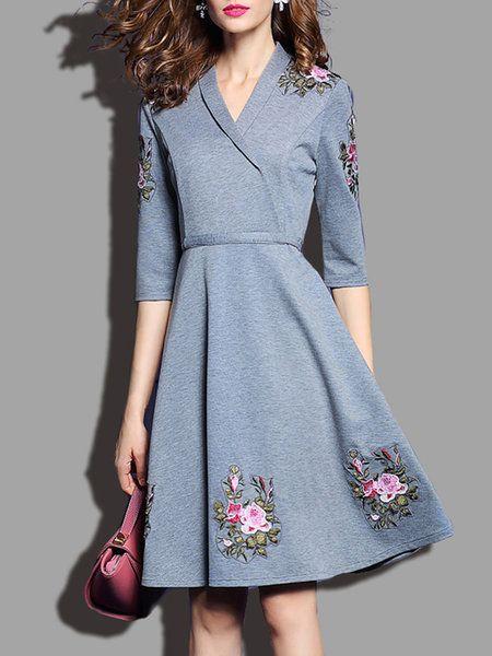 Shop Mini Dresses - Gray Embroidered Nylon Floral Half Sleeve Mini ...