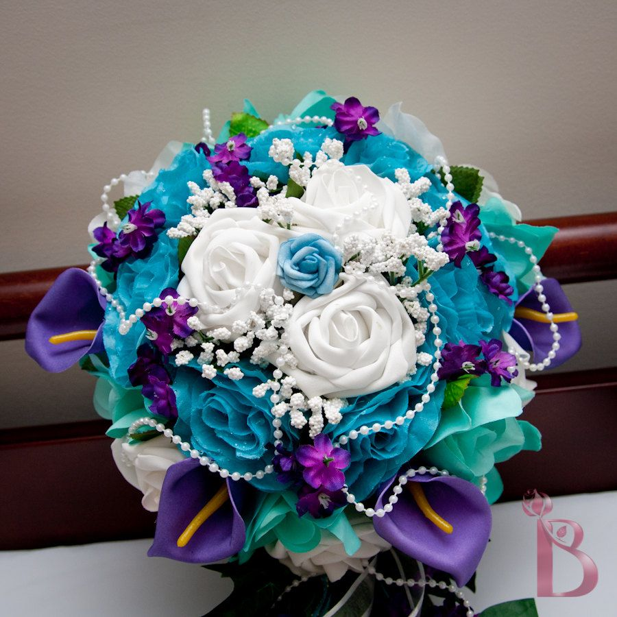 Bridal Cascading Silk Flower Wedding Bouquet In Purple Aqua Teal And Turquoise 110 00