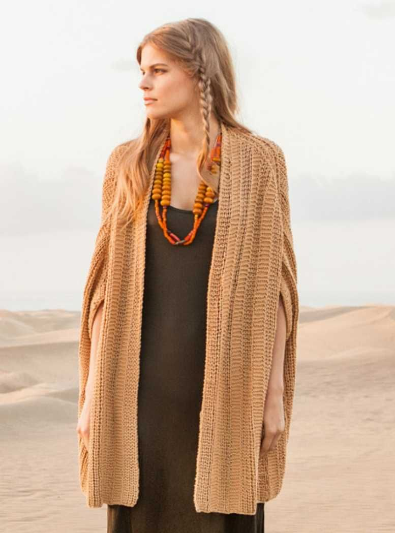 Free Knitting Pattern for a Textured Long Cape   Knitting patterns ...