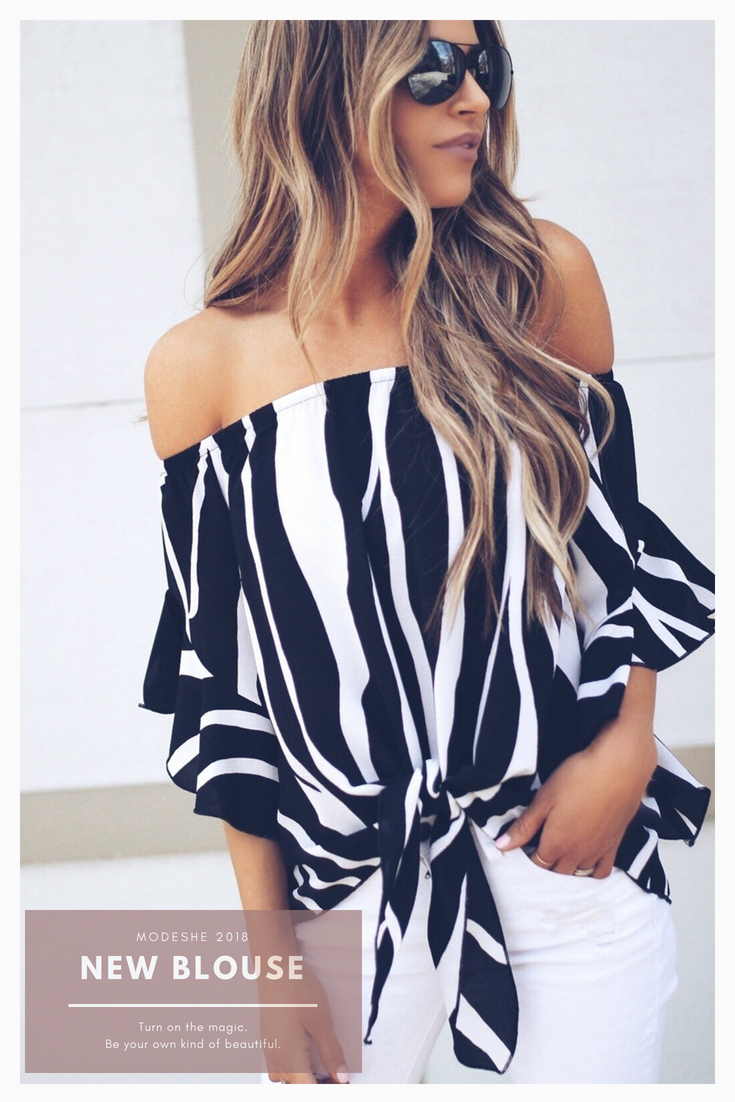 c697f48eb53 Fashion Off The Shoulder Black White Vertical Stripes Blouses Tops