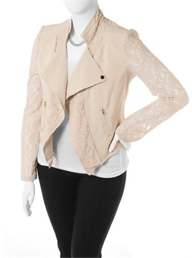 a78f61320c6 Plus Size Lace Sleeves Tan Biker Jacket