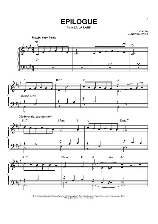 epilogue la la land piano sheet free