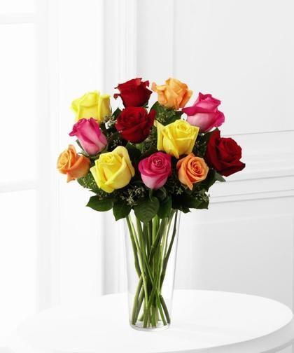Dozen Brightly Colored Roses