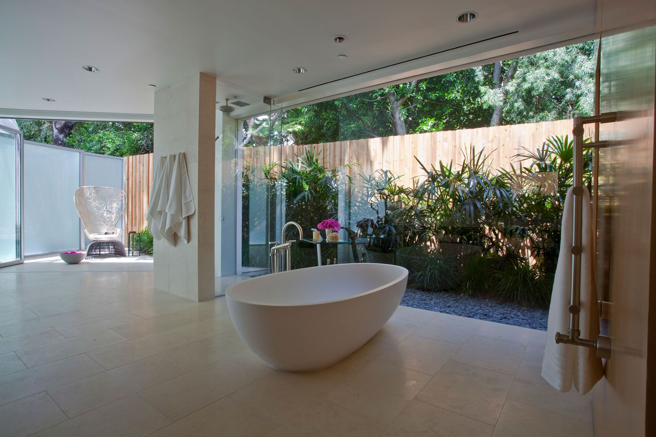 Open bathroom under california contemporary by rozalynn woods interior design applied clean also large glass window