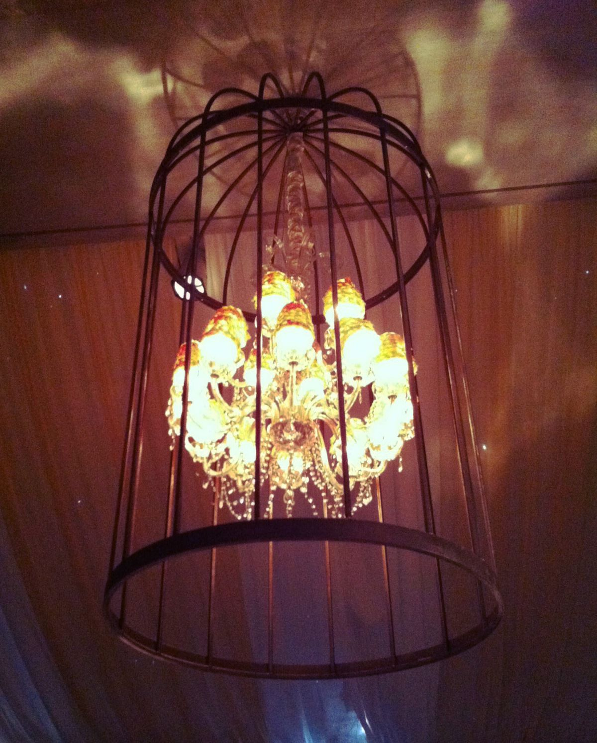 chandelier inside a birdcage /// #wedding #chandelier #birdcage #party #event #elegant #EventuresInc