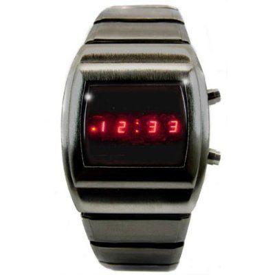 Led Watch Dark Silver Retro 70s Style Digital Watch Limited