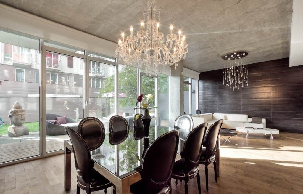 Lighting Industrial Ceiling Design Plus Marvelous Crystal Chandelier Beautify Apartment Dining Room That Also