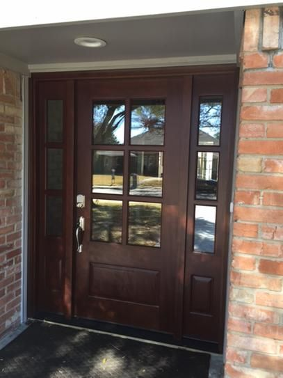 Steves Sons 60 In X 80 In Savannah 6 Lite Stained Mahogany Wood Prehung Front Door With Sidelites M641 Brick Exterior House Home Door Design Exterior Doors