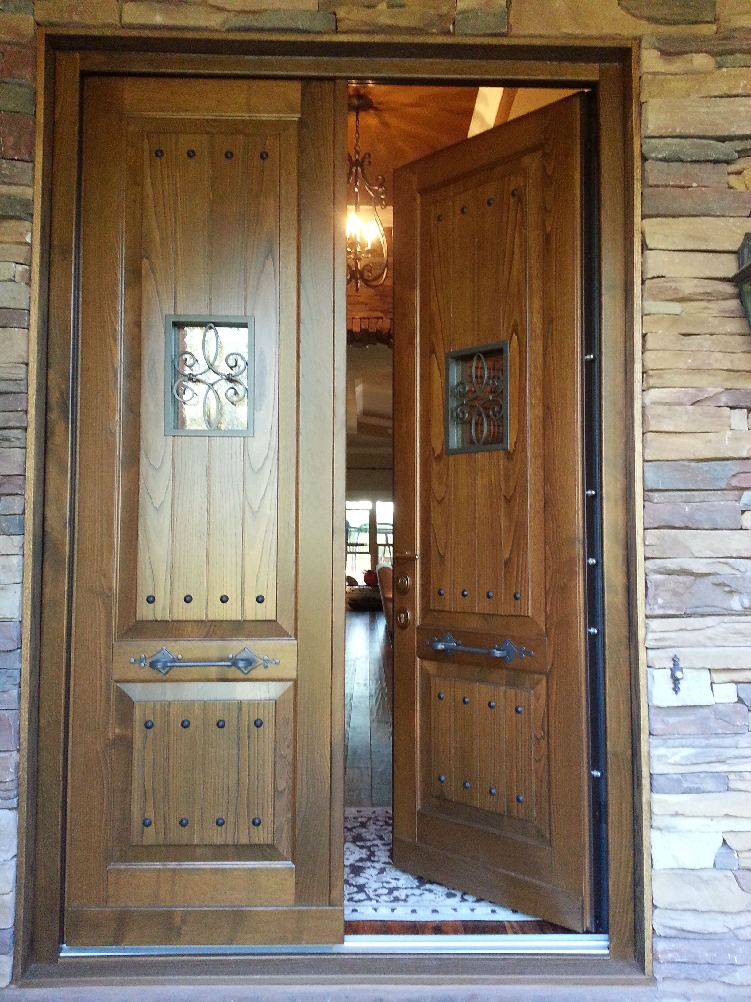 Steel Security Door, Hardwood Panel. Multi Point Locking System