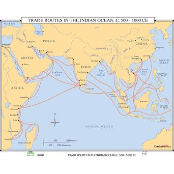World History Wall Maps Trade Routes In The Indian Ocean In 2020 History Wall Indian Ocean Wall Maps