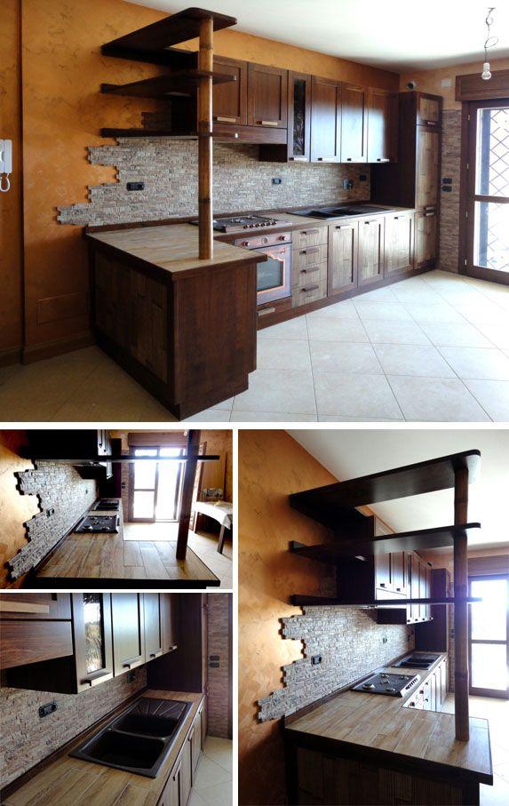 Cucina in legno stile etnico. Realizzata su misura da ...