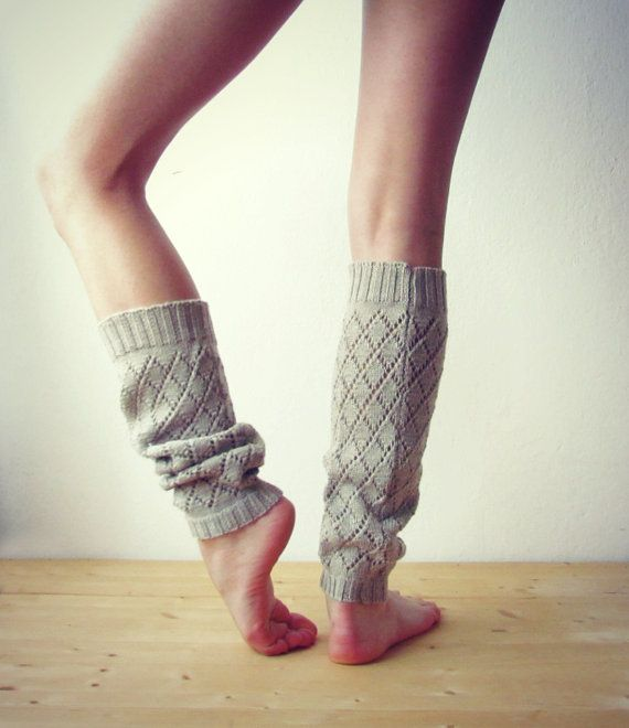 Leg warmers in Beige / Boot cuff / Beige boot socks / Urban clothing / Knit leg wear / geometric dance leg warmers