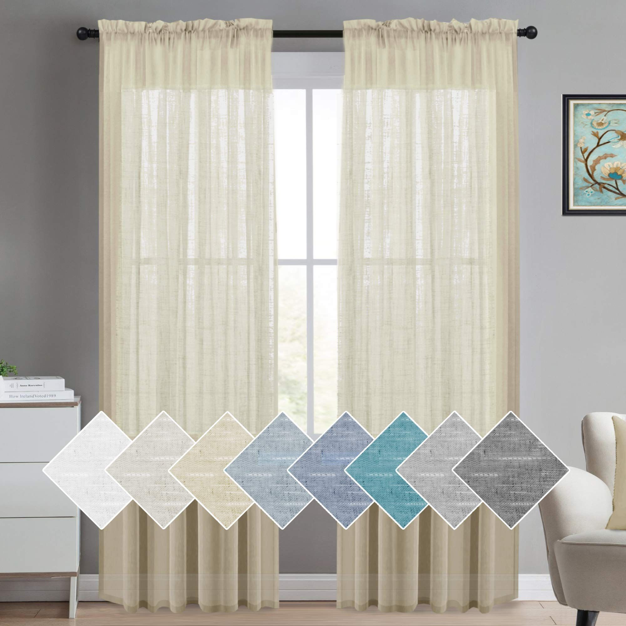 Turquoize Elegant Natural Linen Curtain Panels 96 Inches Long Beige Linen Sheer Curtains Sheers Curtains Living Room White Sheer Curtains Curtains Living Room