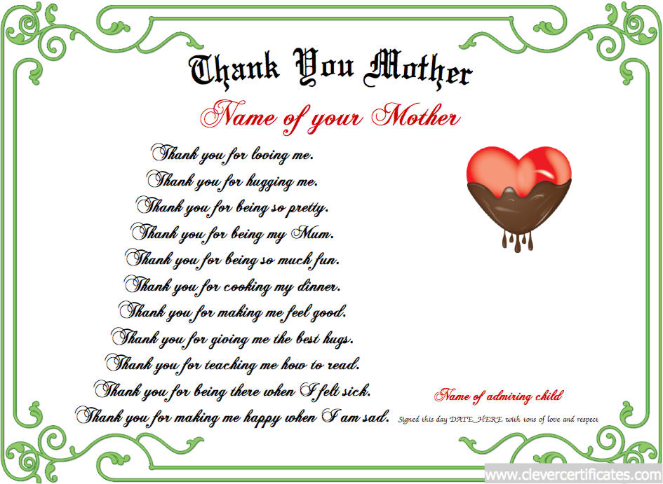 Thank You Mother Certificate Designer  MotherS Day
