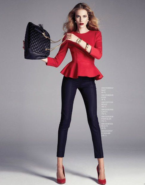 red peplum top, black pants, black bag and red stilettos yes ...