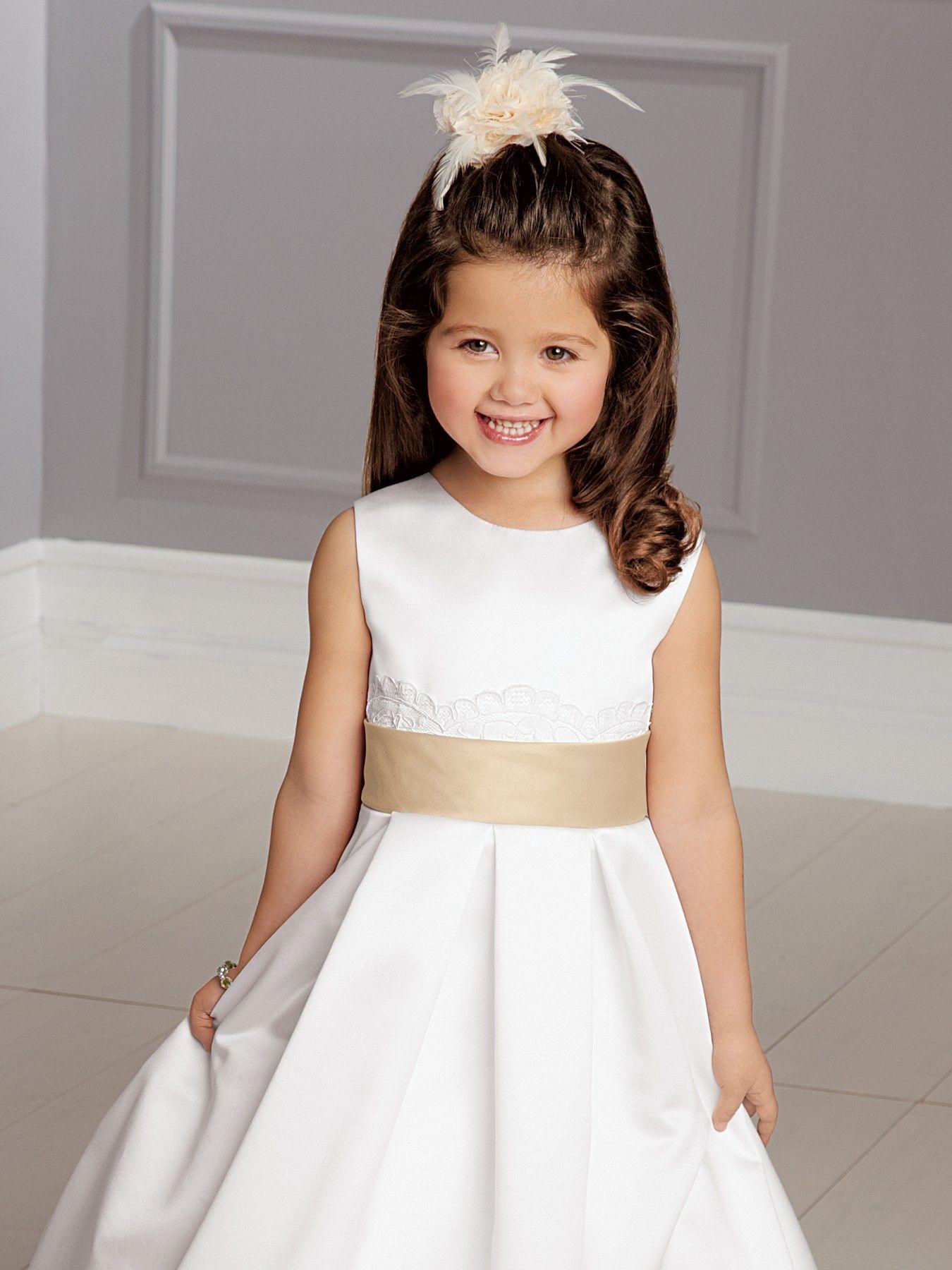 White scoop ball gown sash ankleu floor length satin flower girl