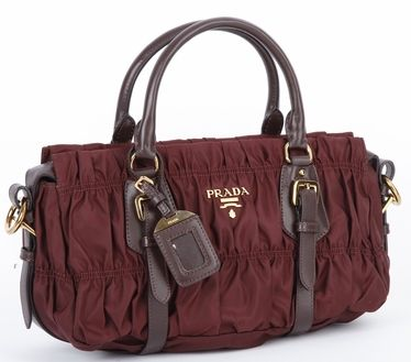 Authentic Prada Nylon Handbag Bn1407 Burgundy At Modaqueen