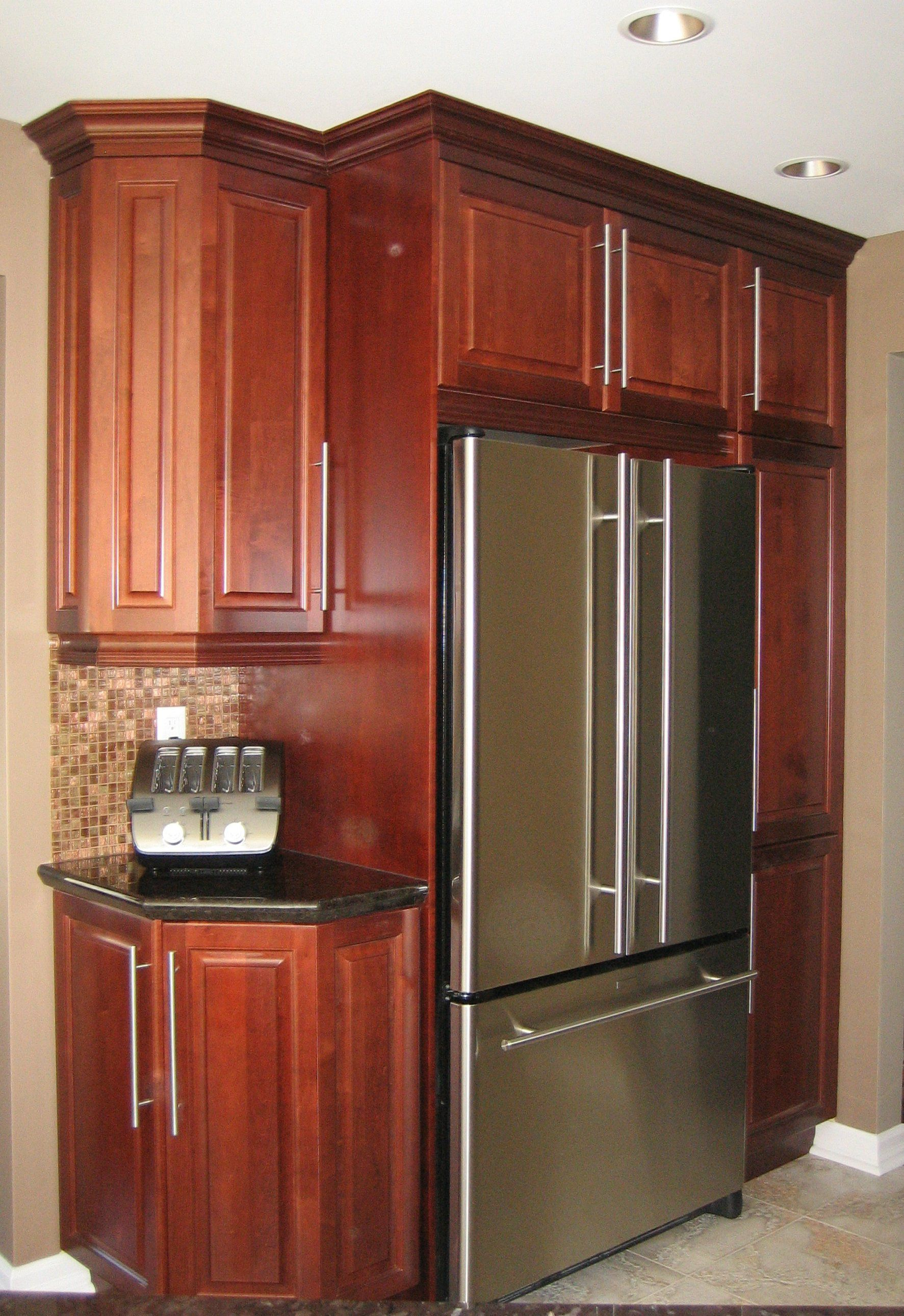 Pantry Built In Fridge And Room For Toaster On The Angled Base Kitchen Cabinets Kitchen Home Decor