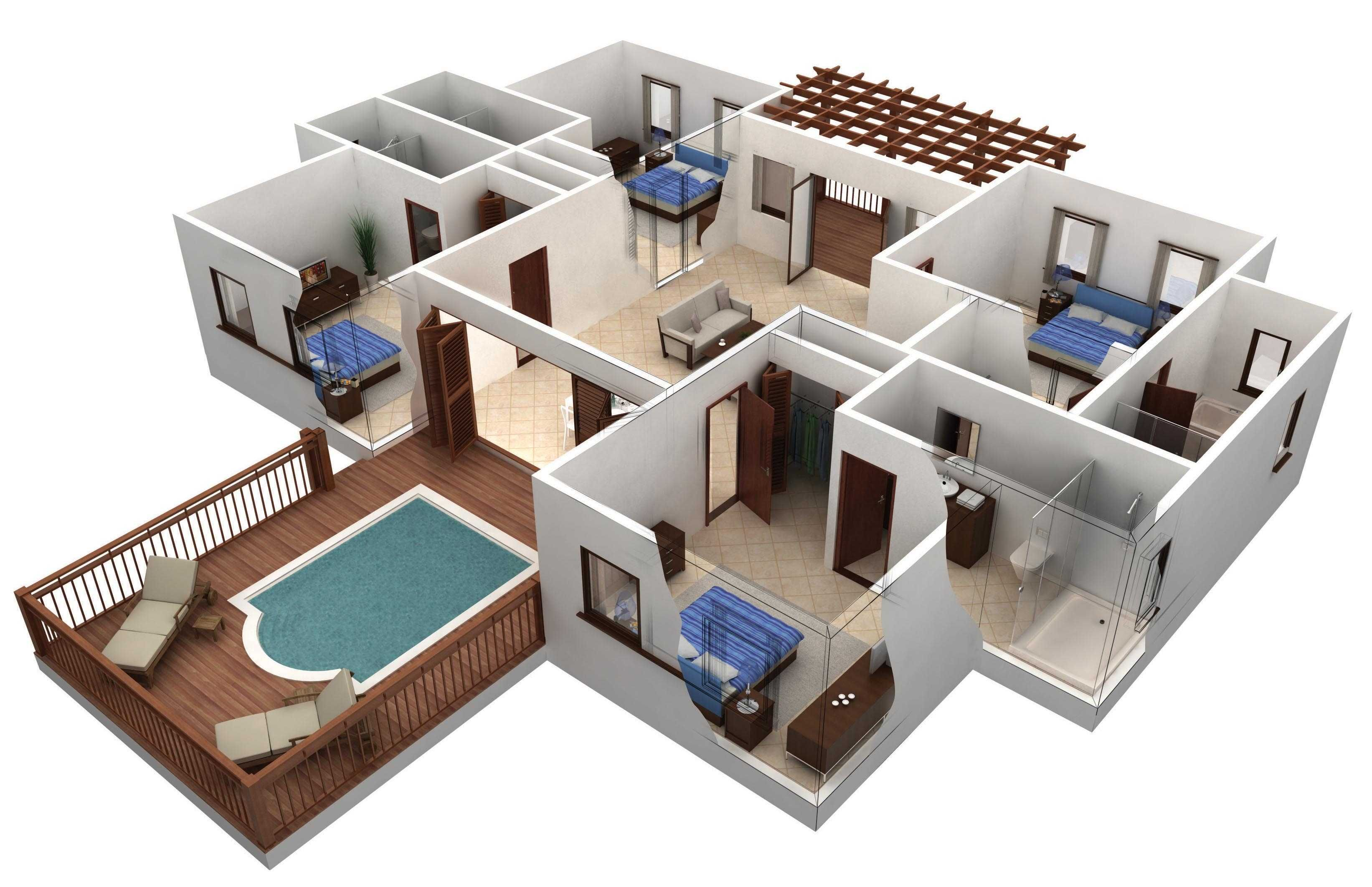 4 Bedroom Simple Design 3d House Plans Smart House Plans Building Plans House